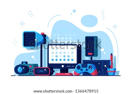 Multimedia installations vector illustration. Big variety of multimedia equipment flat style design. Joystick, monitor, vr helmet. Gaming and entertainment technology concept