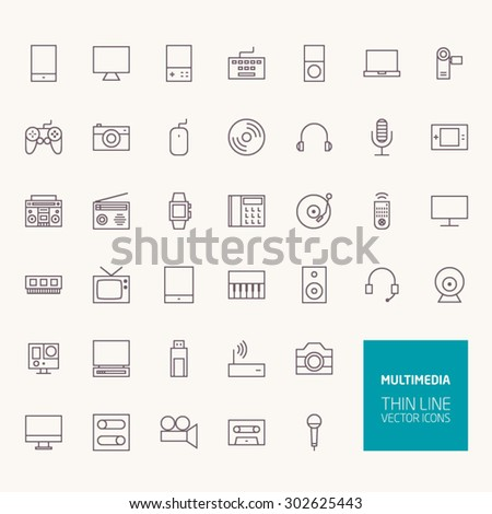 multimedia outline icons for