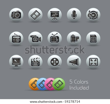 Multimedia // Pearly Series -------It includes 5 color versions for each icon in different layers --------- - stock vector
