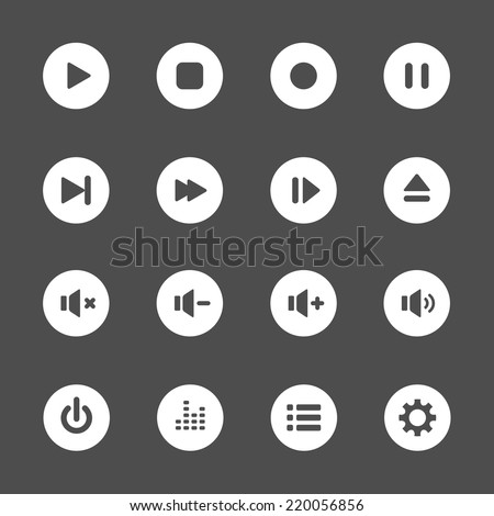 multimedia player icon set, vector eps10.