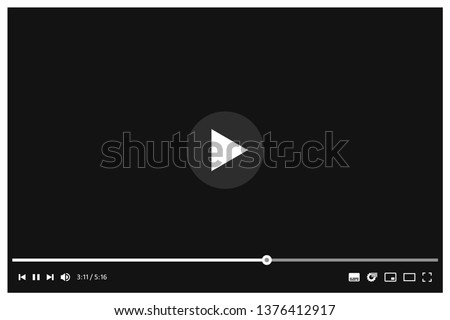 Multimedia player of social media. Social media site template with playing video. Vector illustration.