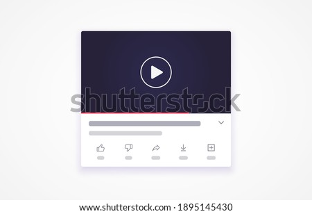 Multimedia player template with shadow. Blogging, video player. Social media concept. Vector illustration. EPS 10 Stock fotó ©