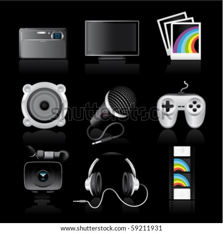 multimedia premium icons on black