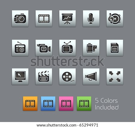 Multimedia // Satinbox Series -------It includes 5 color versions for each icon in different layers ---------