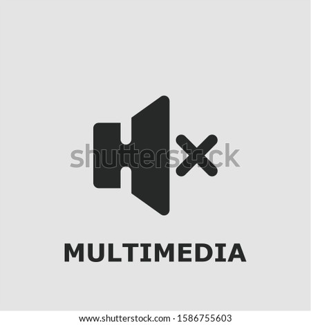 Multimedia symbol. Outline multimedia icon. Multimedia vector illustration for graphic art.