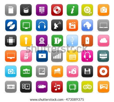 Multimedia symbols, sound instruments, audio and video icons set