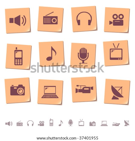 Multimedia & telecom icons on memo notes