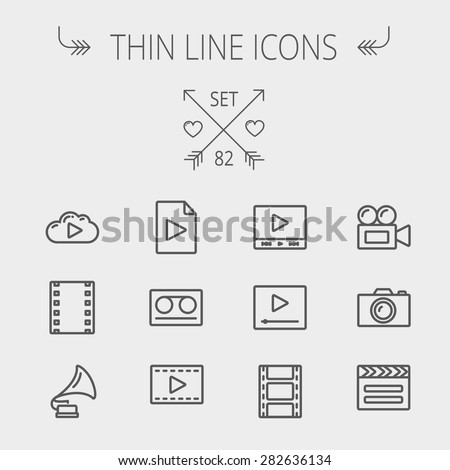multimedia thin line icon set