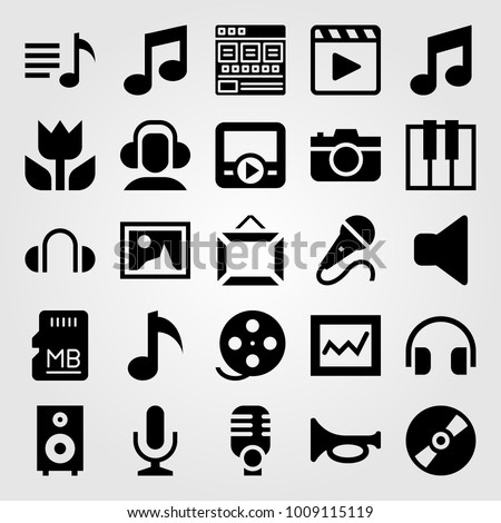 Multimedia vector icon set. macro, memory, compact disc and movie player