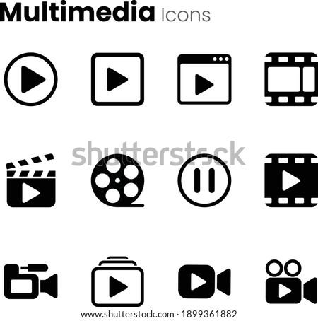 Multimedia video player icon set