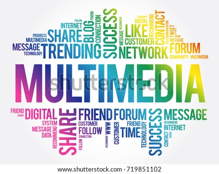 Multimedia word cloud, technology business concept background