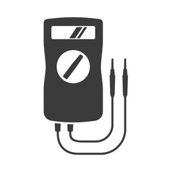 Multimeter or volt-ohm-milliammeter bold black silhouette icon isolated on white. Multitester vector element for web. Electronic instrument measuring voltage, current, resistance pictogram.