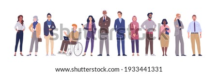 Multinational business team. Vector illustration of diverse cartoon men and women of various ethnicities, ages and body type in office outfits. Isolated on white.