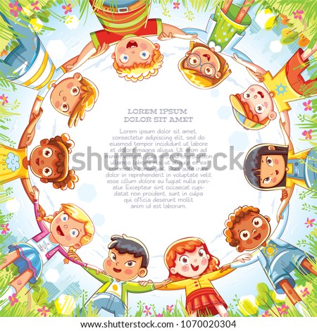 Multinational group of children holding hands. Below view of little friends looking at camera and smiling. Camera angle from bottom to top. Template for advertising brochure. Ready for your message