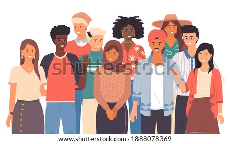 Multinational people group smiling, close up. Friendly people wave. Say hello in different languages. Native speakers, friendly men and women cartoon characters. Flat vector image isolated on white