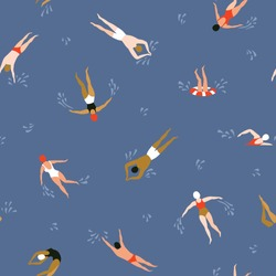 Multinational people swimming pattern. Summer seamless background. Summertime vector illustration with multinational swimmers drawing in flat design.