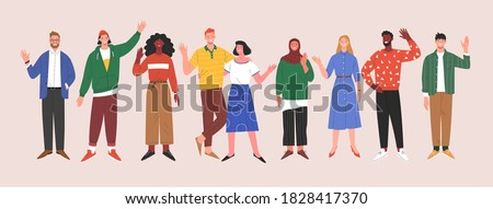 Multinational team. Vector illustration of diverse young adults standing in a line and waving their hands. Isolated on background