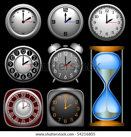 Multiple Clocks In Different Shapes And Styles Stock