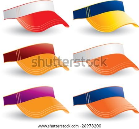 multiple colored collegiate visors