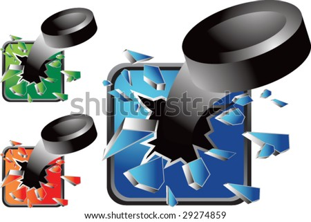 multiple colored icon breaking hockey pucks