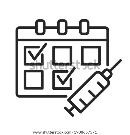 Multiple-Dose Vaccine Schedules outline icon. Calendar and syringe for medication injection. Two dose vaccination concept. Covid vaccination. Thin line vector illustration isolated. Editable stroke Сток-фото ©