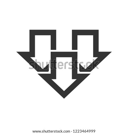 Multiple download arrow icon in thick outline style. Black and white monochrome vector illustration.