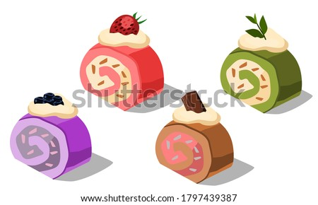 multiple flavor roll cake.Chocolate roll cake, strawberry flavor, blueberry flavor and green tea flavor.Vector illustration isolated on white background.