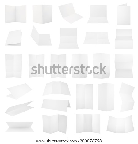 Multiple folded A4 white paper sheet set with the realistic shading, eps10 vector illustration #200076758
