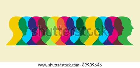 Multiple human heads interacting illustration. Vector file available. - stock vector