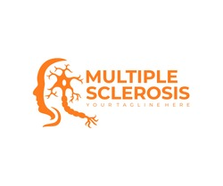 Multiple sclerosis, autoimmune disease and human face, logo design. Disease, medicine, neuron and the nerves of the brain and spinal cord, vector design and illustration