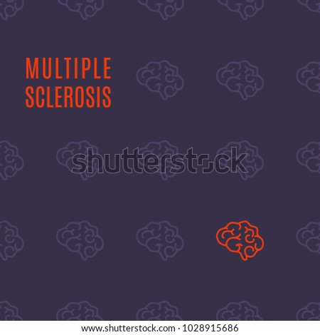 Multiple sclerosis awareness medical poster with healthy brains and one affected by the illness. Side view body anatomy sign. Solidarity day concept. Vector illustration on purple background.