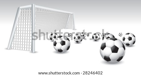 multiple soccer balls and net