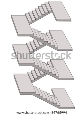 multiple stairs sketch