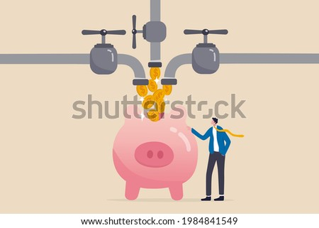 Multiple streams of income, passive income or revenue from invest in multi assets, side hustles to make money concept, rich businessman standing with multi cash flow from pipe into wealthy piggy bank. ストックフォト ©