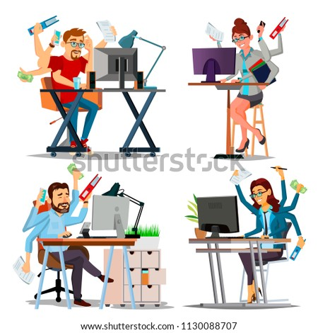 Multiple Tasks Business Concept Vector. Set Person. Many Hands Doing Tasks. Professional Occupation. Skill Of Multitasking. Financial Occupation. Talented Worker. Plodding Worker. Cartoon Illustration
