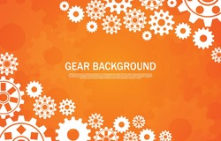 Multiple tech gear styles on an orange background EP.4.Used to decorate on message boards, advertising boards, publications and other works