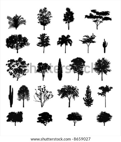 Multiple Tree Silhouettes