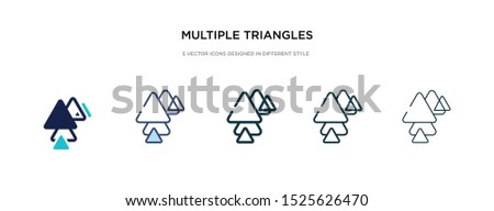 multiple triangles triangle icon in different style vector illustration. two colored and black multiple triangles triangle vector icons designed in filled, outline, line and stroke style can be used