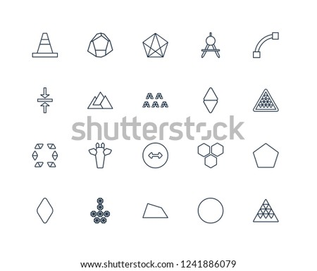 Multiple triangles triangle, Triangle of triangles, Closed Curve, divider, Rhombus, dodecahedron, Hexagon, Vertical alignment outline vector icons from 20 set