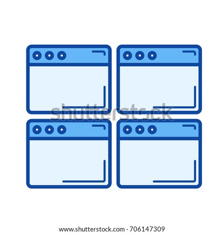 Multiple webpage vector line icon isolated on white background. Multiple webpage line icon for infographic, website or app. Blue icon designed on a grid system.