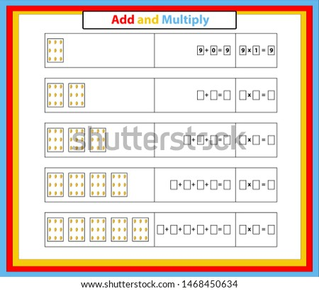 Multiplication Table Mathematics Worksheet. Educational Game. Vector illustration.Addition and Multiplication Math.