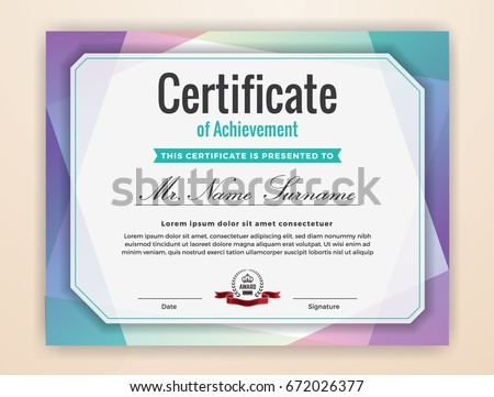 Multipurpose Modern Professional Certificate Template Design for Print. Colorful Certificate of Achievement Background.  Vector illustration
