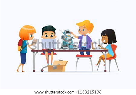 Multiracial boys and girls standing and sitting around desk with laptops, robot and working on school project for programming lesson. Concept of coding robotics for kids. Cartoon vector illustration