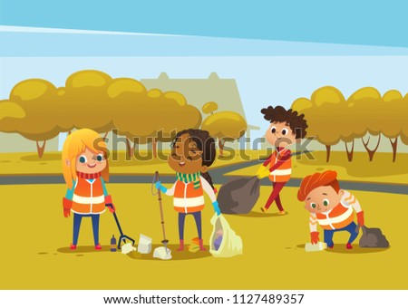 Multiracial children wearing orange vests collect rubbish for recycling, Kids gathering plastic bottles and garbage for recycling. Boy throws litter into bin. Early childhood education.Vector