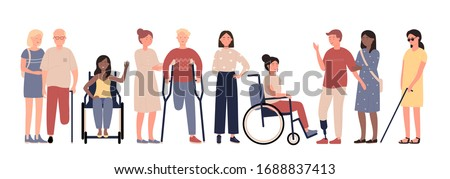 Multiracial disabled people character flat vector illustration set isolated on white background. Positive men and women with special needs with prosthesis, crutches, stick, in wheelchair, blind girl