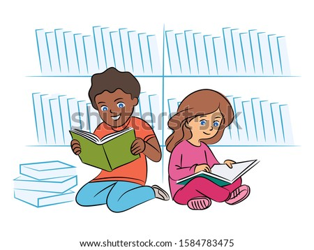 multiracial kids reading book