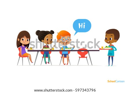 Multiracial kids sitting at table in school canteen and greeting newcomer boy holding tray with food. Children's relationships concept. Vector illustration for banner, website, poster, advertisement.