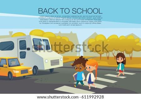 multiracial kids walking across