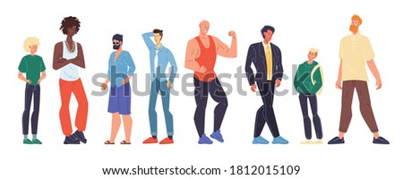 Multiracial man different age, nationality, appearance, body shape type size, weight, height set. Teenage, young, adult male person standing in row isolated on white. Guy outfit diversity Stock foto ©