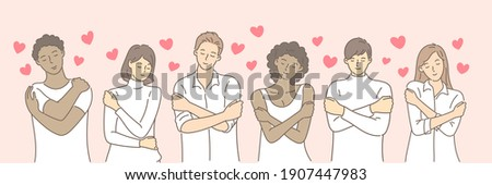 Multiracial or multinational couple hugging herself with hearts on pink background. Self love and self care. Love yourself. Love your body concept. Hand draw style. Vector illustration. Photo stock ©
